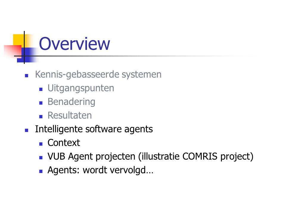Kennis-gebasseerde systemen Uitgangspunten Benadering Resultaten Intelligente software agents Context VUB Agent projecten (illustratie COMRIS project) Agents: wordt vervolgd… Overview