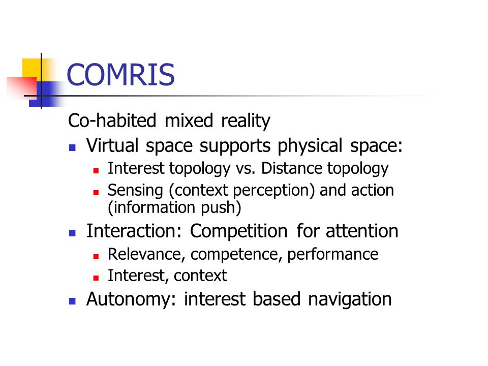 COMRIS Co-habited mixed reality Virtual space supports physical space: Interest topology vs.