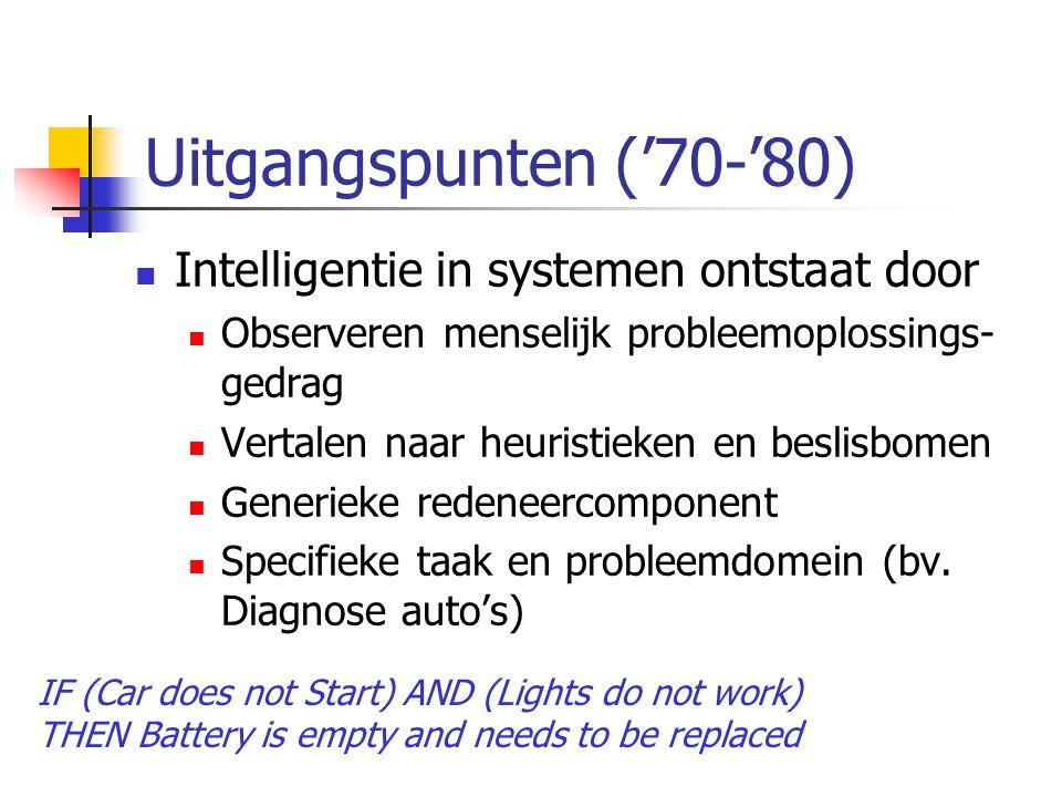 Uitgangspunten ('70-'80) Intelligentie in systemen ontstaat door Observeren menselijk probleemoplossings- gedrag Vertalen naar heuristieken en beslisbomen Generieke redeneercomponent Specifieke taak en probleemdomein (bv.