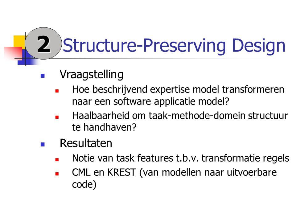 Structure-Preserving Design Vraagstelling Hoe beschrijvend expertise model transformeren naar een software applicatie model.