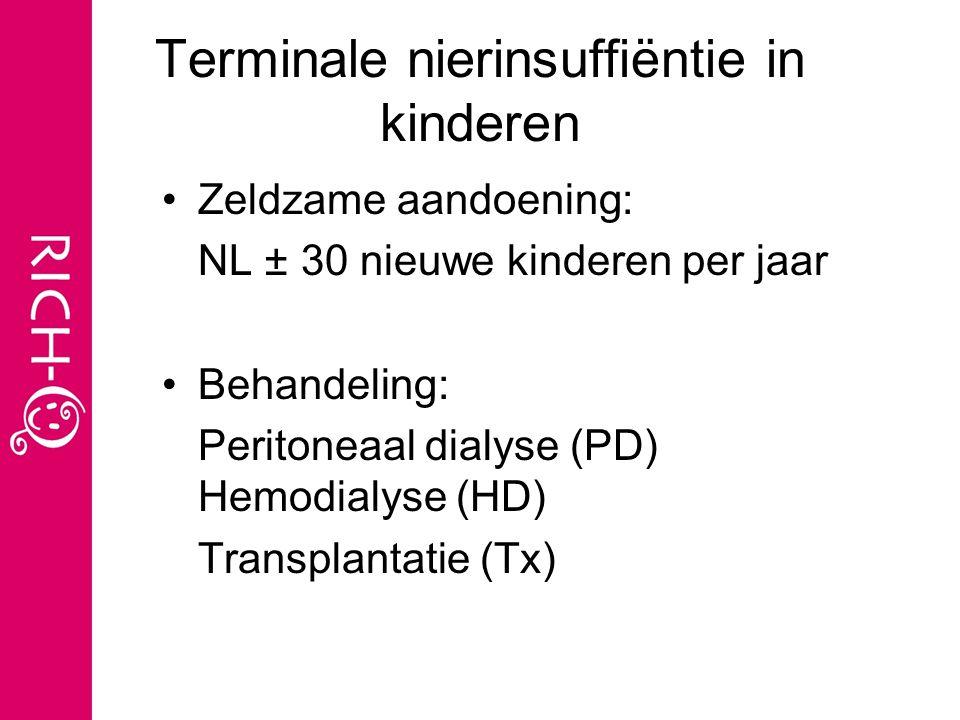Terminale nierinsuffiëntie in kinderen Zeldzame aandoening: NL ± 30 nieuwe kinderen per jaar Behandeling: Peritoneaal dialyse (PD) Hemodialyse (HD) Transplantatie (Tx)