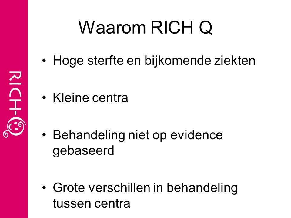 Doel RICH-Q Samenwerkingsproject alle centra in NL en B om kwaliteit van behandeling (QOC)te verbeteren 1.zoeken naar 'best practice' 2.Opbouwen van GCP database: basis voor kwaliteitsstudies 3.Nieuwe EB richtlijnen behandeling 4.Continue monitoring en terugkoppeling QOC 5. Add-on studies