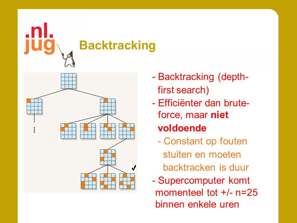 Backtracking - Backtracking (depth- first search) - Efficiënter dan brute- force, maar niet voldoende - Constant op fouten stuiten en moeten backtracken is duur - Supercomputer komt momenteel tot +/- n=25 binnen enkele uren