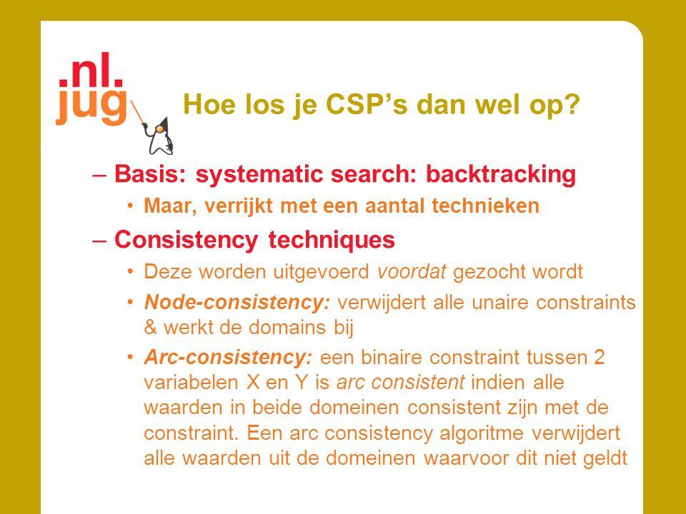Hoe los je CSP's dan wel op? –Basis: systematic search: backtracking Maar, verrijkt met een aantal technieken –Consistency techniques Deze worden uitg