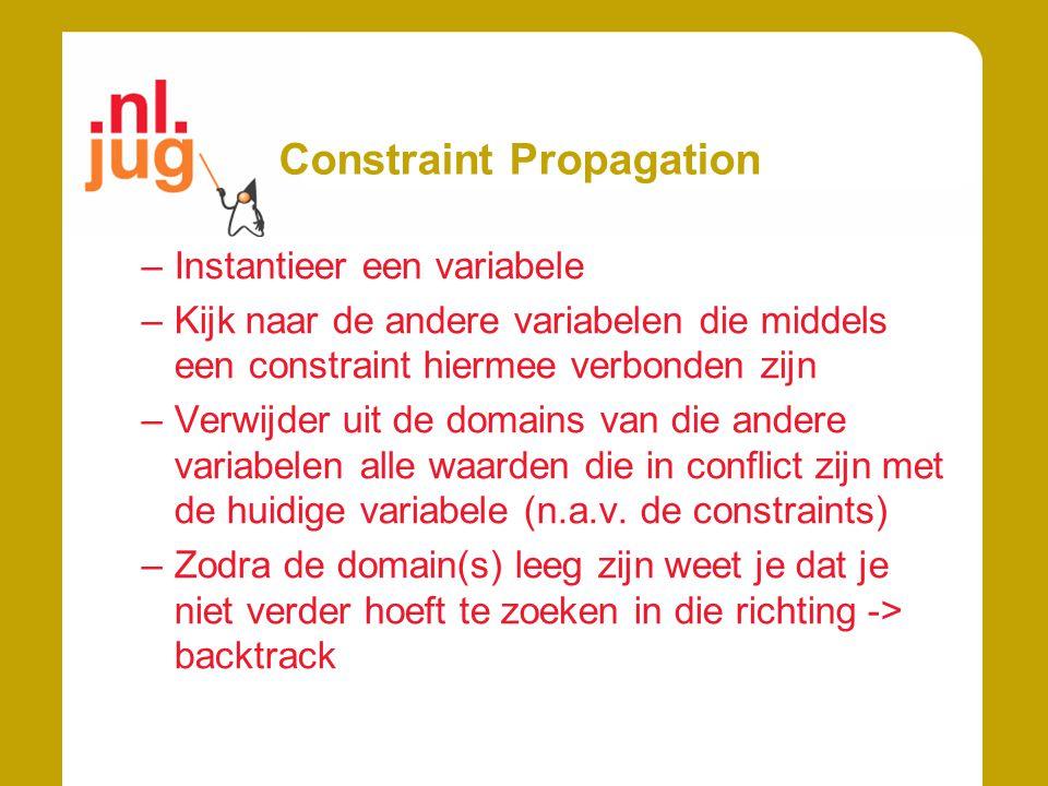 Constraint Propagation –Instantieer een variabele –Kijk naar de andere variabelen die middels een constraint hiermee verbonden zijn –Verwijder uit de domains van die andere variabelen alle waarden die in conflict zijn met de huidige variabele (n.a.v.