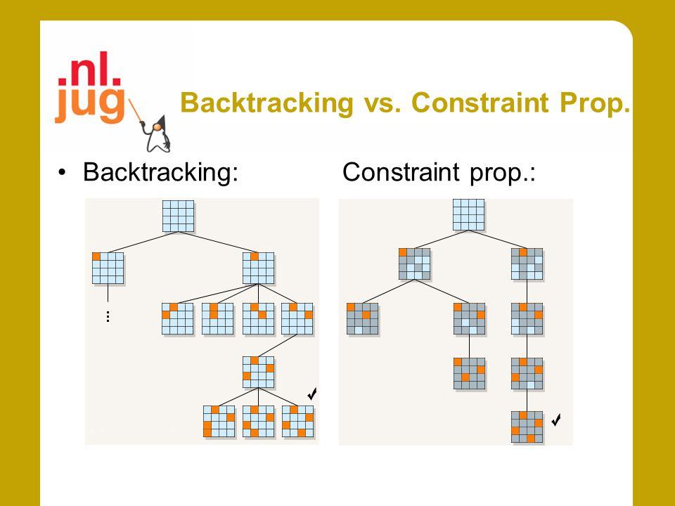 Backtracking vs. Constraint Prop. Backtracking: Constraint prop.: