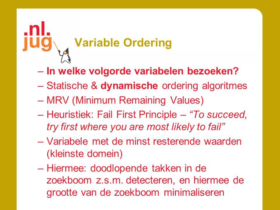 Variable Ordering –In welke volgorde variabelen bezoeken? –Statische & dynamische ordering algoritmes –MRV (Minimum Remaining Values) –Heuristiek: Fai