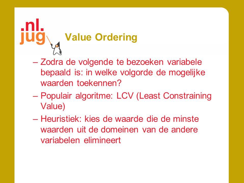 Value Ordering –Zodra de volgende te bezoeken variabele bepaald is: in welke volgorde de mogelijke waarden toekennen? –Populair algoritme: LCV (Least