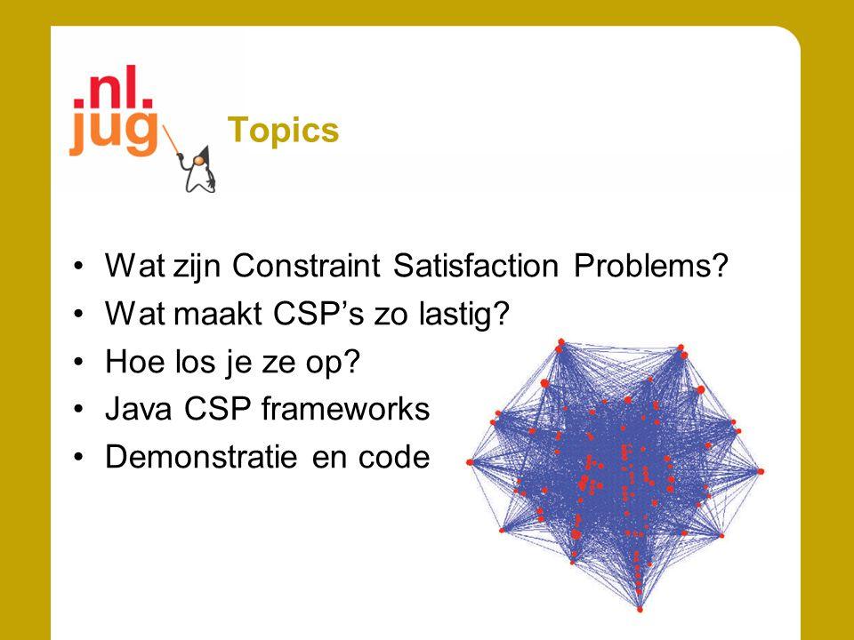 Topics Wat zijn Constraint Satisfaction Problems? Wat maakt CSP's zo lastig? Hoe los je ze op? Java CSP frameworks Demonstratie en code