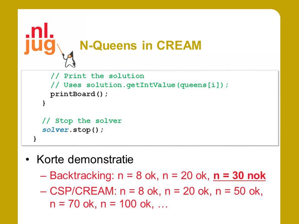 N-Queens in CREAM // Print the solution // Uses solution.getIntValue(queens[i]); printBoard(); } // Stop the solver solver.stop(); } // Print the solution // Uses solution.getIntValue(queens[i]); printBoard(); } // Stop the solver solver.stop(); } Korte demonstratie –Backtracking: n = 8 ok, n = 20 ok, n = 30 nok –CSP/CREAM: n = 8 ok, n = 20 ok, n = 50 ok, n = 70 ok, n = 100 ok, …