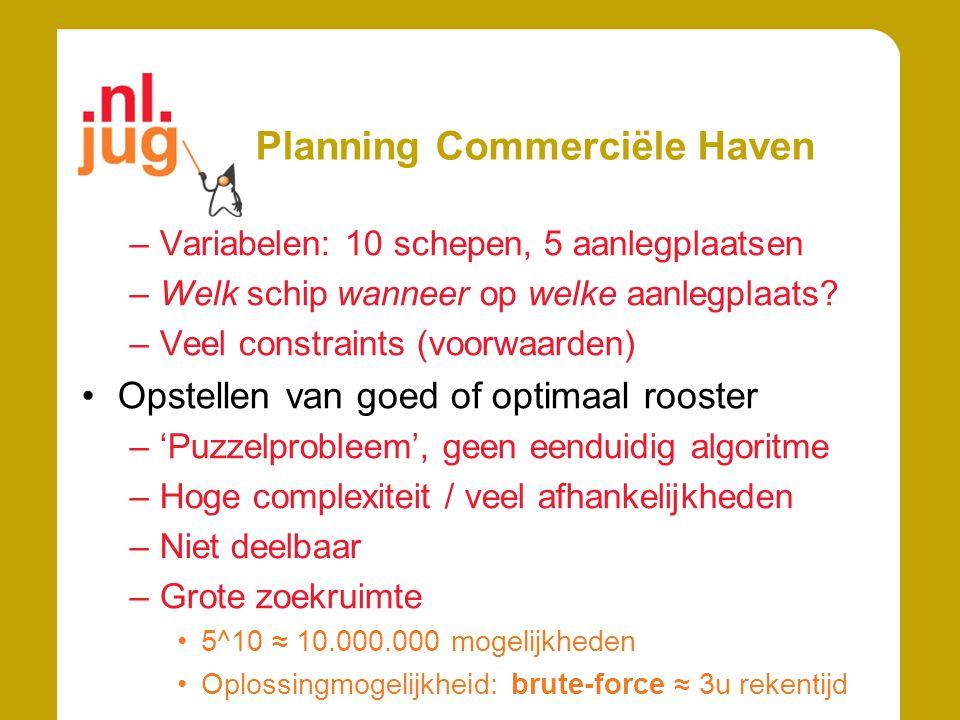 Planning Commerciële Haven –Variabelen: 10 schepen, 5 aanlegplaatsen –Welk schip wanneer op welke aanlegplaats? –Veel constraints (voorwaarden) Opstel