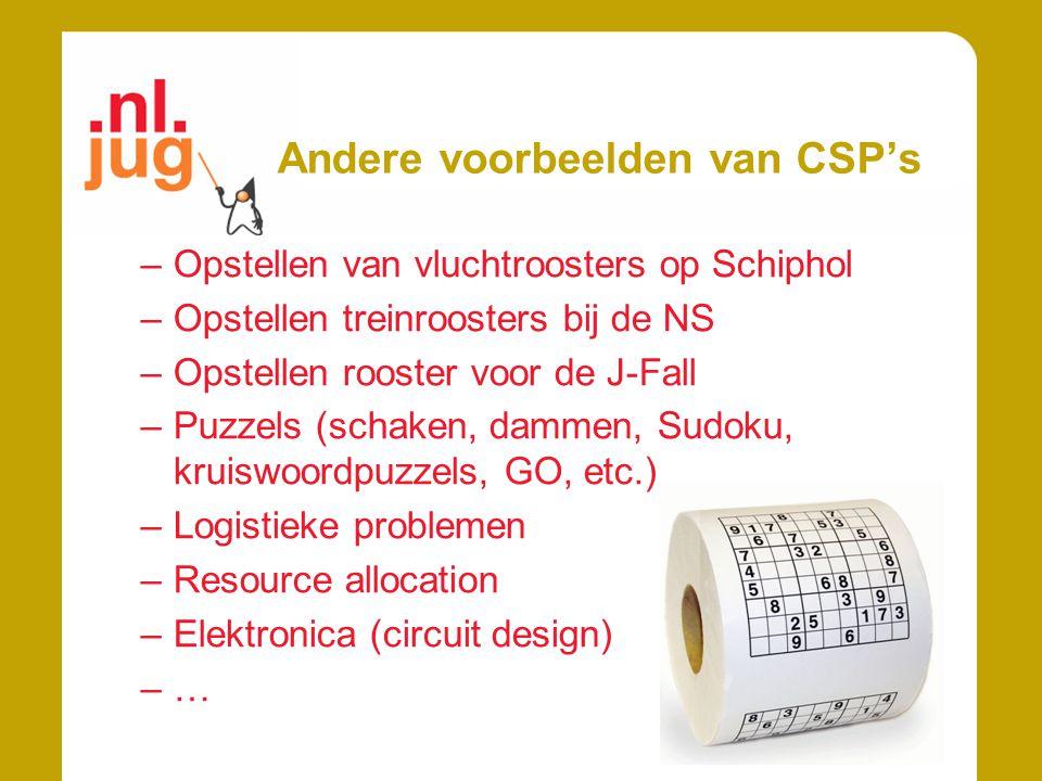 Andere voorbeelden van CSP's –Opstellen van vluchtroosters op Schiphol –Opstellen treinroosters bij de NS –Opstellen rooster voor de J-Fall –Puzzels (schaken, dammen, Sudoku, kruiswoordpuzzels, GO, etc.) –Logistieke problemen –Resource allocation –Elektronica (circuit design) –…
