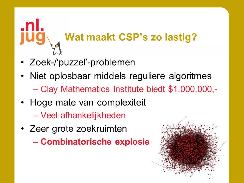 Wat maakt CSP's zo lastig? Zoek-/'puzzel'-problemen Niet oplosbaar middels reguliere algoritmes –Clay Mathematics Institute biedt $1.000.000,- Hoge ma