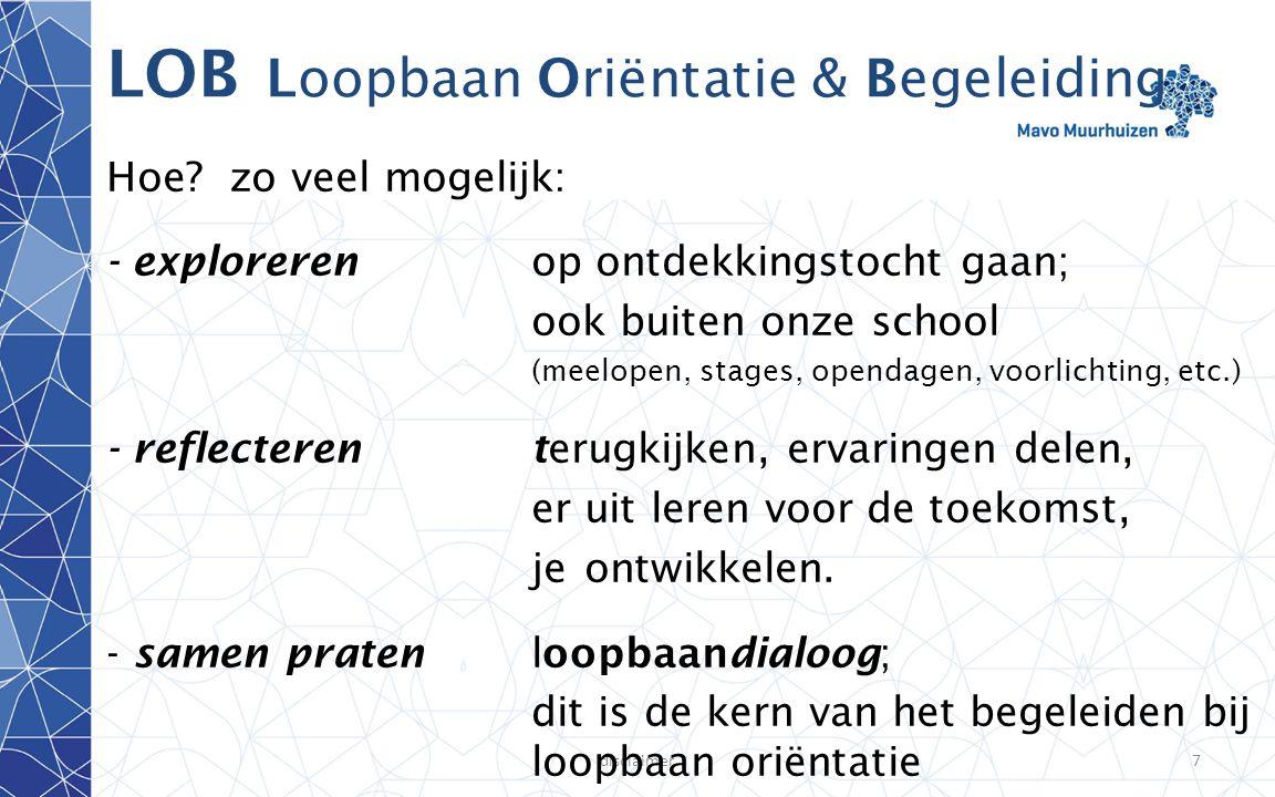 disclaimer7 LOB Loopbaan Oriëntatie & Begeleiding Hoe? zo veel mogelijk: - explorerenop ontdekkingstocht gaan; ook buiten onze school (meelopen, stage