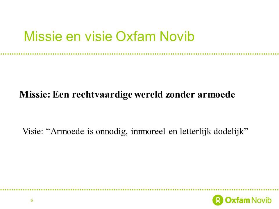7 Uitgangspunten Oxfam Novib is geen charitas organisatie Empowerment Armoede is onrechtvaardig en oplosbaar Beleid gebaseerd op mensenrechten