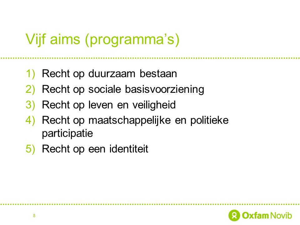 8 Vijf aims (programma's) 1)Recht op duurzaam bestaan 2)Recht op sociale basisvoorziening 3)Recht op leven en veiligheid 4)Recht op maatschappelijke en politieke participatie 5)Recht op een identiteit