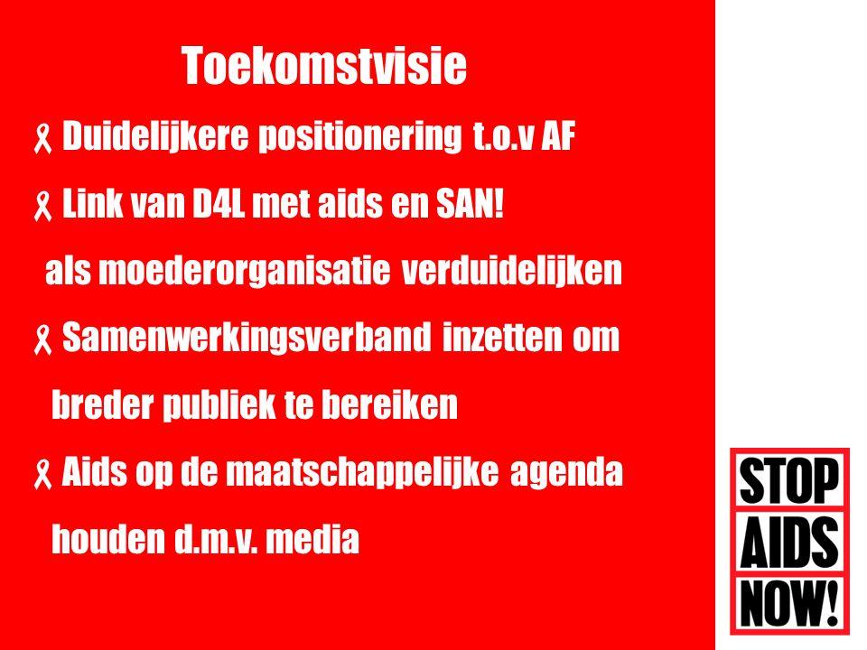  Duidelijkere positionering t.o.v AF  Link van D4L met aids en SAN.