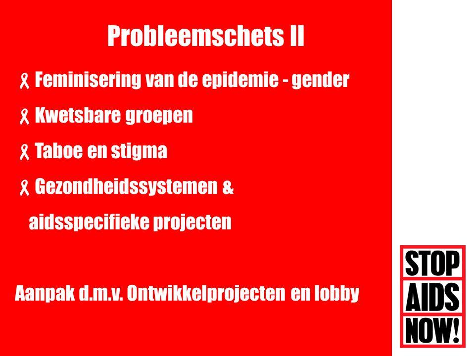  Feminisering van de epidemie - gender  Kwetsbare groepen  Taboe en stigma  Gezondheidssystemen & aidsspecifieke projecten Aanpak d.m.v.