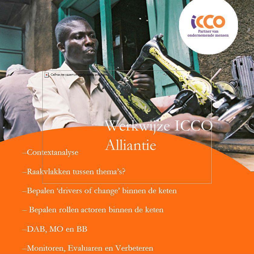 Werkwijze ICCO Alliantie –Contextanalyse –Raakvlakken tussen thema's? –Bepalen 'drivers of change' binnen de keten – Bepalen rollen actoren binnen de