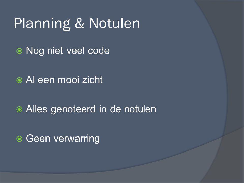 Planning & Notulen  Nog niet veel code  Al een mooi zicht  Alles genoteerd in de notulen  Geen verwarring