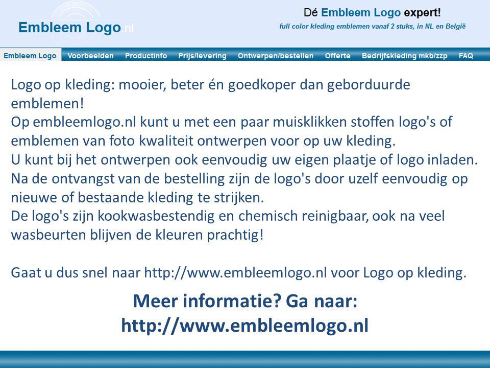 Logo op kleding: mooier, beter én goedkoper dan geborduurde emblemen! Op embleemlogo.nl kunt u met een paar muisklikken stoffen logo's of emblemen van