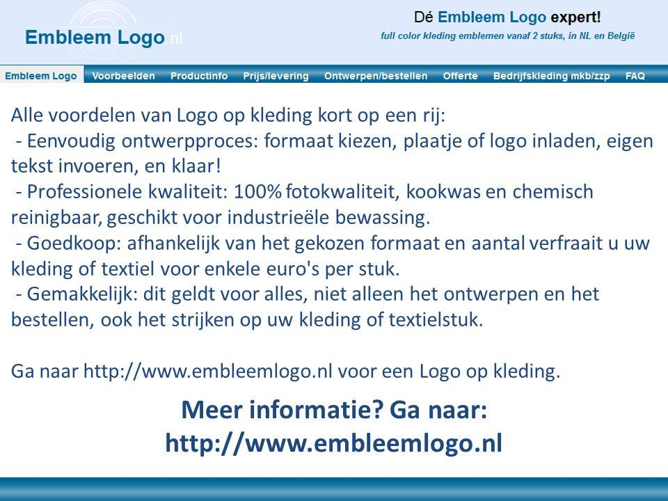 Alle voordelen van Logo op kleding kort op een rij: - Eenvoudig ontwerpproces: formaat kiezen, plaatje of logo inladen, eigen tekst invoeren, en klaar