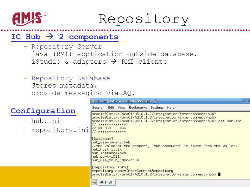 32 Repository IC Hub  2 components –Repository Server java (RMI) application outside database.