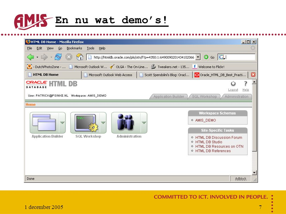 1 december 20058 Te behandelen De HTML DB interface en navigatie Wizards Navigatie Application Builder, SQL Workshop, Administration LOV's: Pop-up, select lists Conditional Display Validations, Processes, Branches, Computations