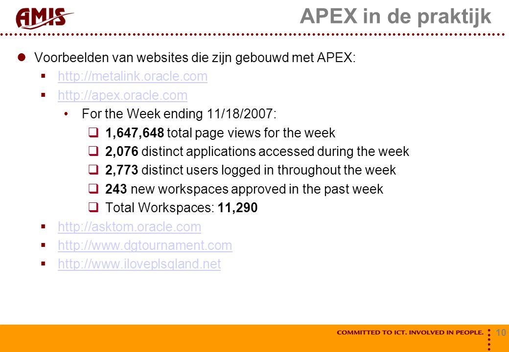 10 APEX in de praktijk Voorbeelden van websites die zijn gebouwd met APEX:  http://metalink.oracle.com http://metalink.oracle.com  http://apex.oracle.com http://apex.oracle.com For the Week ending 11/18/2007:  1,647,648 total page views for the week  2,076 distinct applications accessed during the week  2,773 distinct users logged in throughout the week  243 new workspaces approved in the past week  Total Workspaces: 11,290  http://asktom.oracle.com http://asktom.oracle.com  http://www.dgtournament.com http://www.dgtournament.com  http://www.iloveplsqland.net http://www.iloveplsqland.net