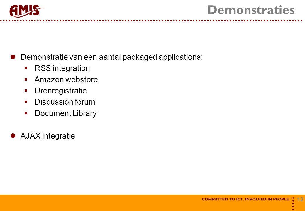 12 Demonstraties Demonstratie van een aantal packaged applications:  RSS integration  Amazon webstore  Urenregistratie  Discussion forum  Document Library AJAX integratie