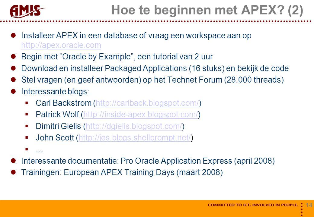 14 Hoe te beginnen met APEX.