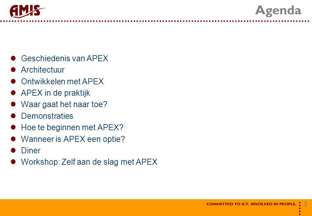 3 Agenda Geschiedenis van APEX Architectuur Ontwikkelen met APEX APEX in de praktijk Waar gaat het naar toe.