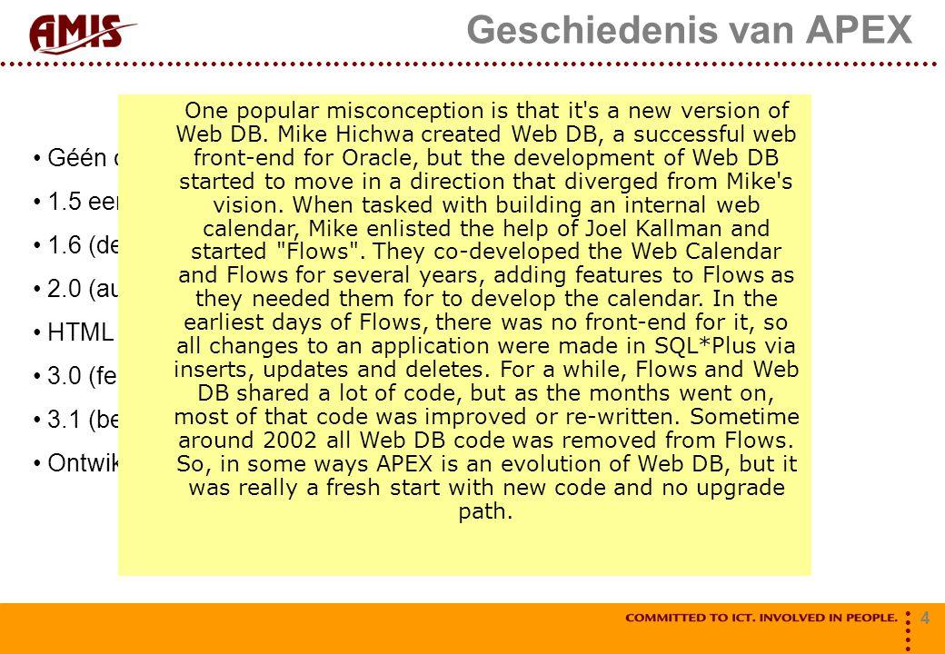 4 Géén opvolger van Oracle WebDB (1999) (aldus Wikipedia)!.