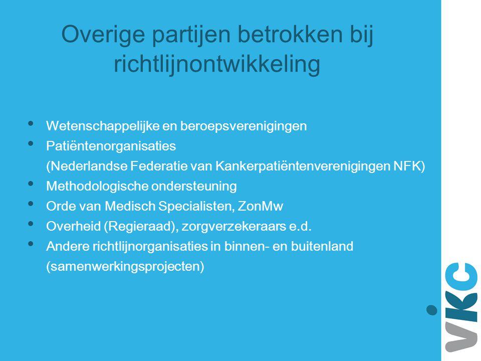 Overige partijen betrokken bij richtlijnontwikkeling Wetenschappelijke en beroepsverenigingen Patiëntenorganisaties (Nederlandse Federatie van Kankerp