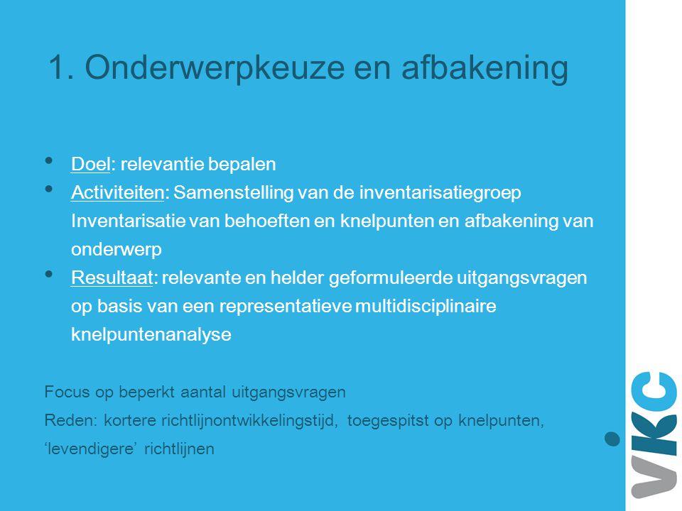 1. Onderwerpkeuze en afbakening Doel: relevantie bepalen Activiteiten: Samenstelling van de inventarisatiegroep Inventarisatie van behoeften en knelpu