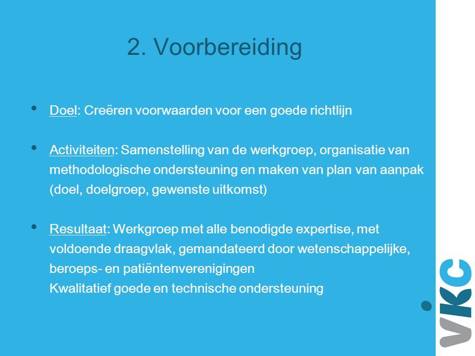 2. Voorbereiding Doel: Creëren voorwaarden voor een goede richtlijn Activiteiten: Samenstelling van de werkgroep, organisatie van methodologische onde