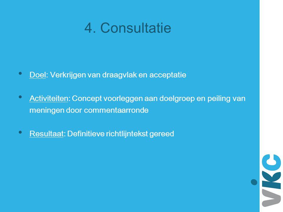 4. Consultatie Doel: Verkrijgen van draagvlak en acceptatie Activiteiten: Concept voorleggen aan doelgroep en peiling van meningen door commentaarrond