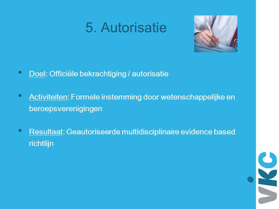5. Autorisatie Doel: Officiële bekrachtiging / autorisatie Activiteiten: Formele instemming door wetenschappelijke en beroepsverenigingen Resultaat: G