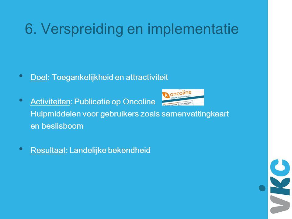 6. Verspreiding en implementatie Doel: Toegankelijkheid en attractiviteit Activiteiten: Publicatie op Oncoline Hulpmiddelen voor gebruikers zoals same