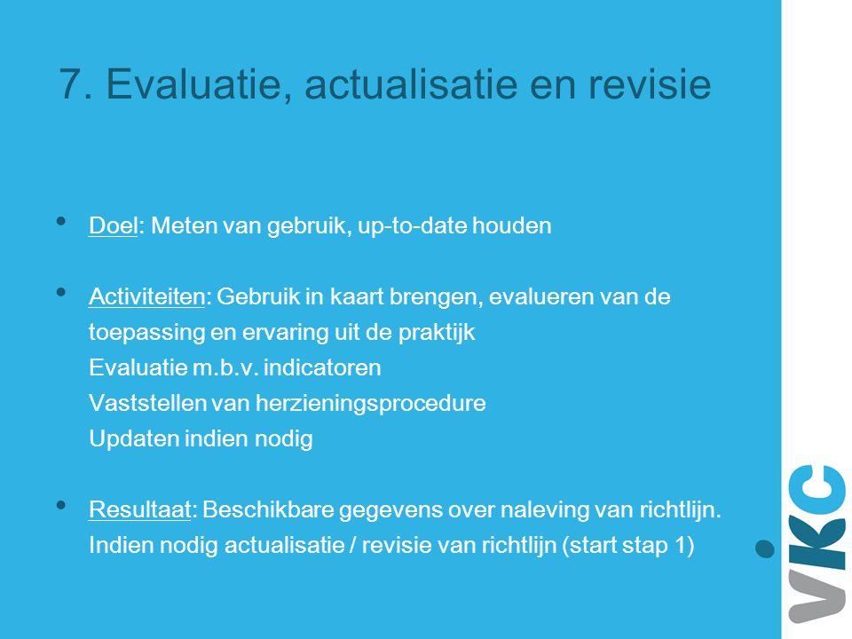 7. Evaluatie, actualisatie en revisie Doel: Meten van gebruik, up-to-date houden Activiteiten: Gebruik in kaart brengen, evalueren van de toepassing e