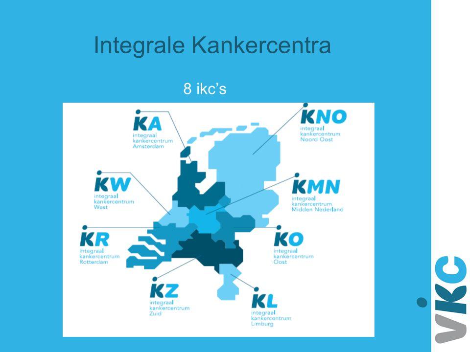 Doelstelling: bevorderen dat mensen met kanker zo dicht mogelijk bij huis toegang hebben tot samenhangend en kwalitatief verantwoord zorgaanbod Ikc's zijn samenwerkingsverbanden van zorgverleners en instellingen in de oncologische en palliatieve zorg.