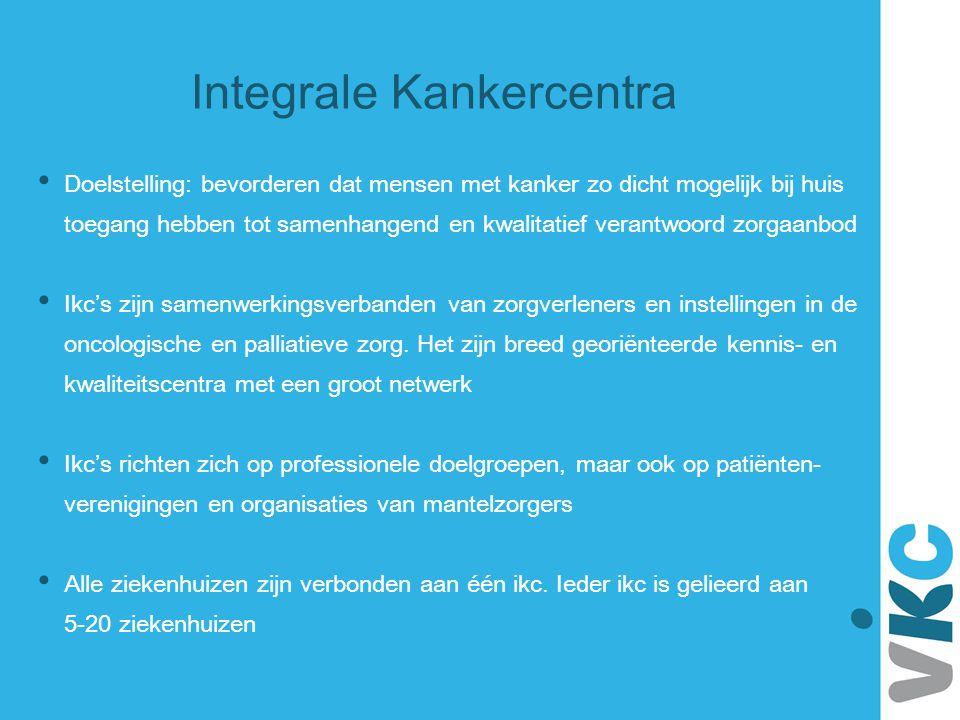 De VIKC heeft een coördinerende rol in de Nederlandse oncologische en palliatieve zorg Binnen de VIKC werken ikc's samen aan landelijke programma's Richtlijnen Richtlijnen Kankerregistratie Organisatie oncologische zorg Palliatieve zorg Herstel na kanker ICT en IM De VIKC (ACCC Association of Comprehensive Cancers Centers) vertegenwoordigt de ikc's op (inter)nationaal niveau Vereniging van Integrale Kankercentra