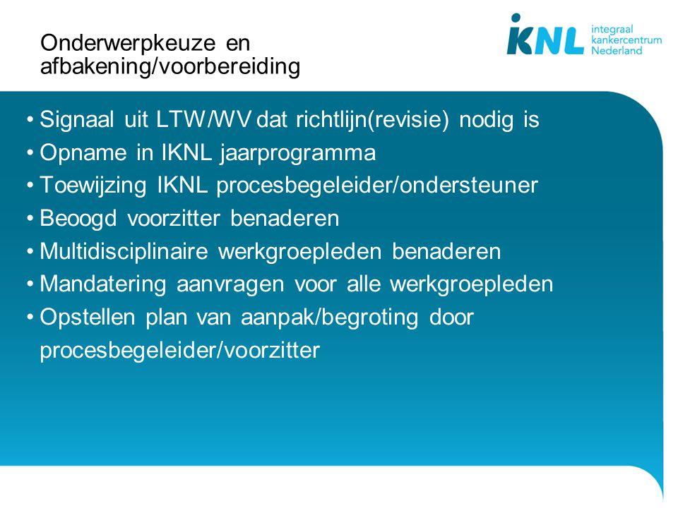 Onderwerpkeuze en afbakening/voorbereiding Signaal uit LTW/WV dat richtlijn(revisie) nodig is Opname in IKNL jaarprogramma Toewijzing IKNL procesbegel