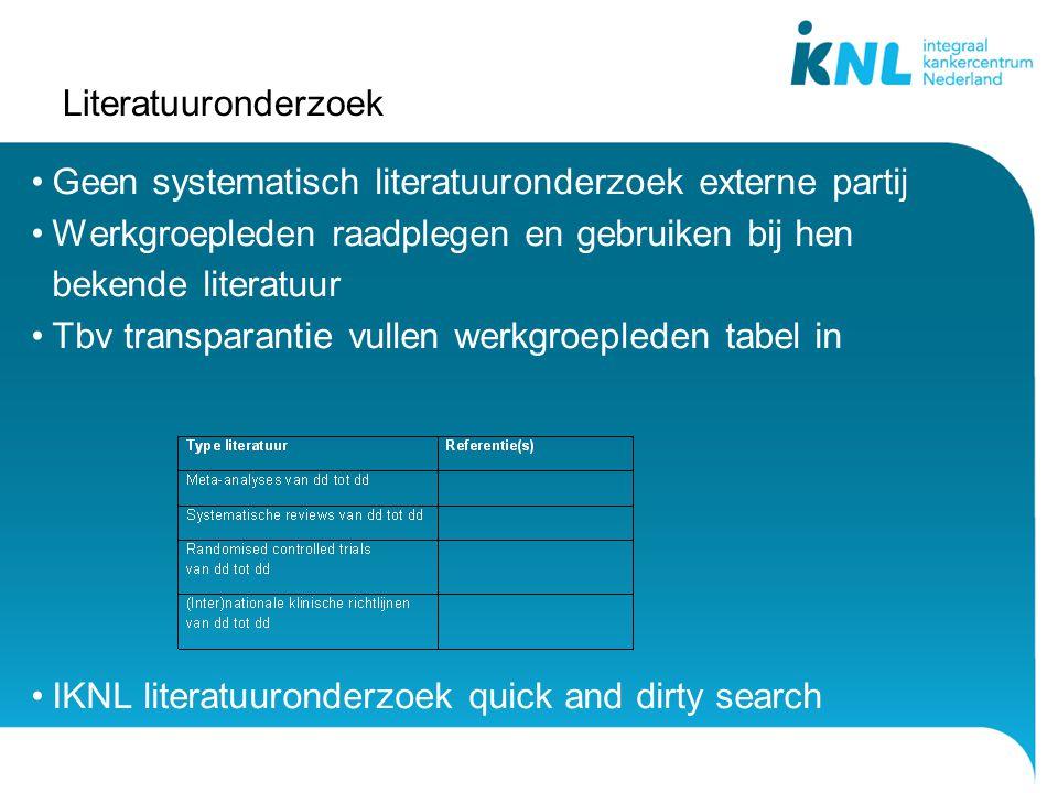 Literatuuronderzoek Geen systematisch literatuuronderzoek externe partij Werkgroepleden raadplegen en gebruiken bij hen bekende literatuur Tbv transpa
