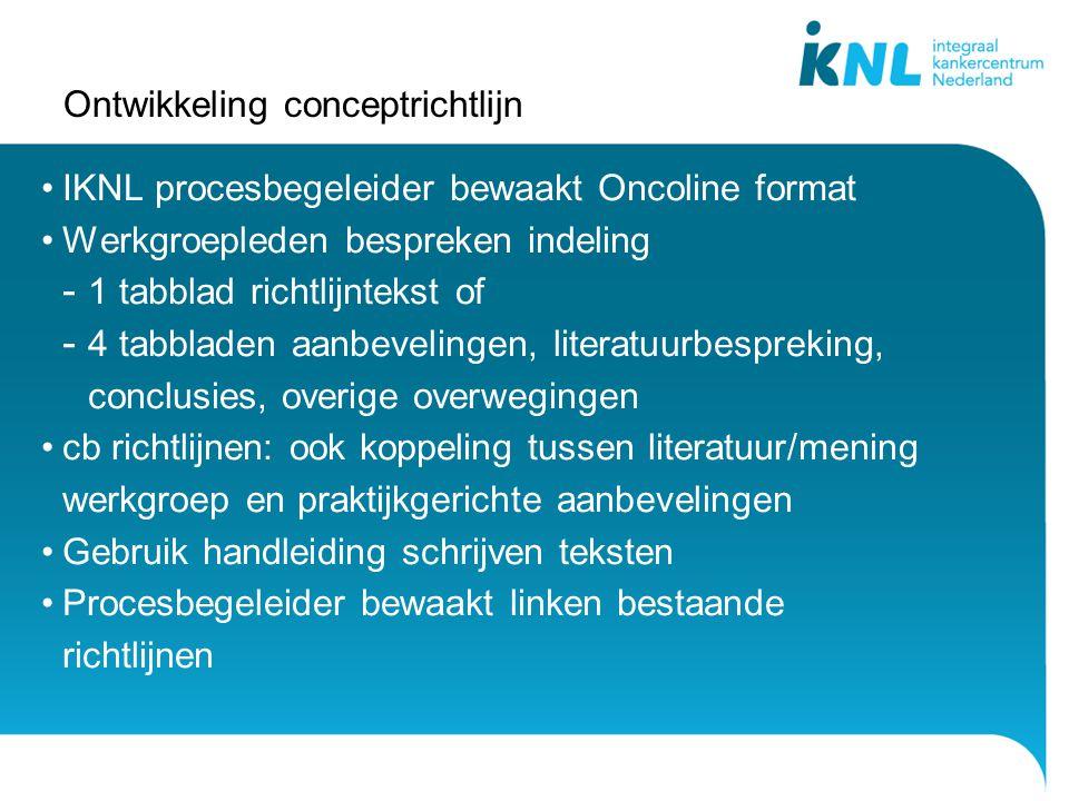 Ontwikkeling conceptrichtlijn IKNL procesbegeleider bewaakt Oncoline format Werkgroepleden bespreken indeling - 1 tabblad richtlijntekst of - 4 tabbla