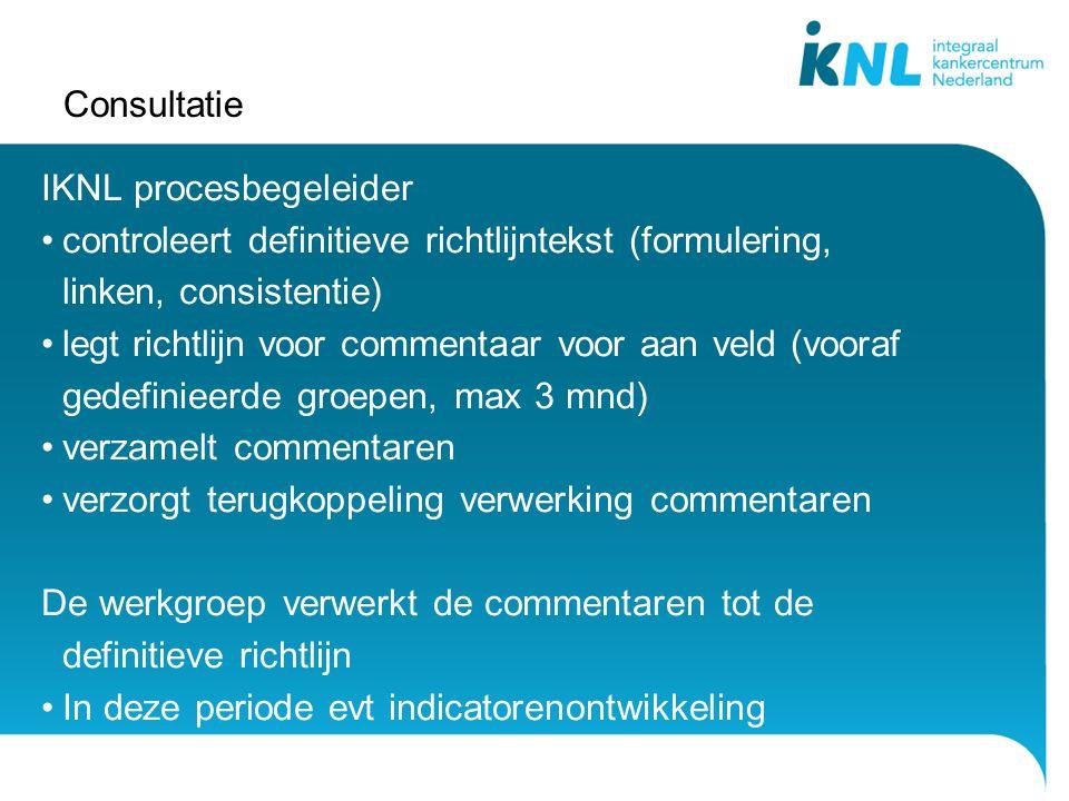Consultatie IKNL procesbegeleider controleert definitieve richtlijntekst (formulering, linken, consistentie) legt richtlijn voor commentaar voor aan v