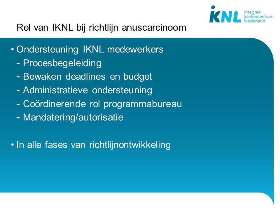 Rol van IKNL bij richtlijn anuscarcinoom Ondersteuning IKNL medewerkers - Procesbegeleiding - Bewaken deadlines en budget - Administratieve ondersteuning - Coördinerende rol programmabureau - Mandatering/autorisatie In alle fases van richtlijnontwikkeling