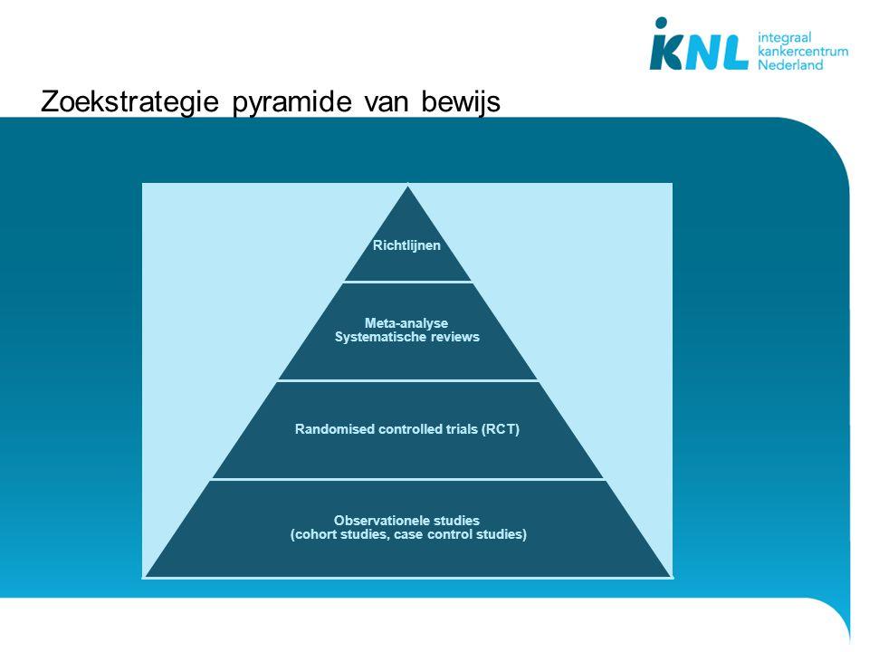 Zoekstrategie pyramide van bewijs Richtlijnen Meta-analyse Systematische reviews Randomised controlled trials (RCT) Observationele studies (cohort studies, case control studies)