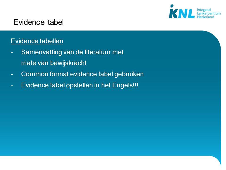 Evidence tabel Evidence tabellen -Samenvatting van de literatuur met mate van bewijskracht -Common format evidence tabel gebruiken -Evidence tabel opstellen in het Engels!!!