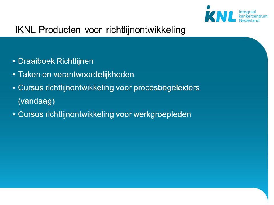 IKNL Producten voor richtlijnontwikkeling Draaiboek Richtlijnen Taken en verantwoordelijkheden Cursus richtlijnontwikkeling voor procesbegeleiders (vandaag) Cursus richtlijnontwikkeling voor werkgroepleden